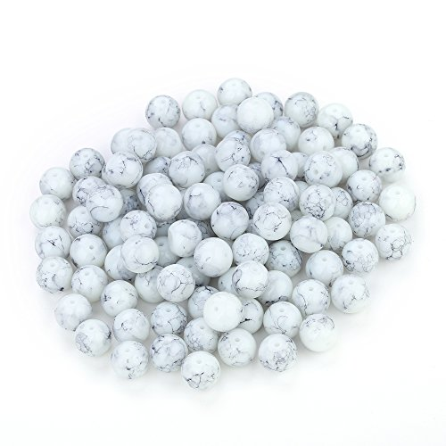 (Navifoce Artistic Marble Design Various Color Round Loose Beads for Jewelry Making Craft,8mm Diameter (Light Grey))