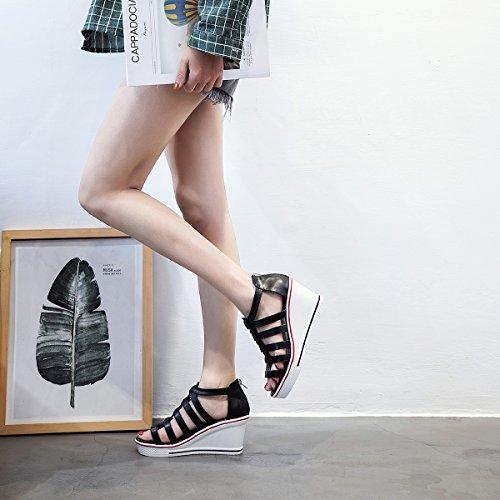 Padgene Donna Sneaker Scarpe Col Tacco Alto Moda Scarpe Alta Pompa Stringate Zeppe Scarpe Con Cerniera Laterale Nero 4