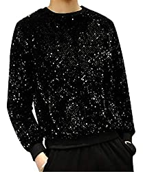 Men's Sequins Crew Neck Long Sleeve T-Shirt