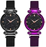 TIMESOON Casual Designer Black Dial Combo of Magnet Watch - Pair of 2 - for Girls & Women - Purple & Black