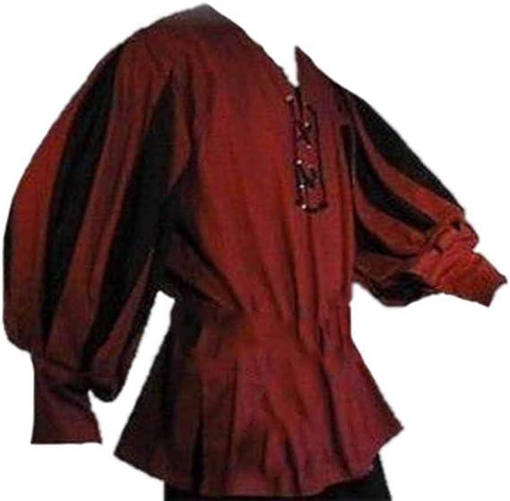 Camisa Renacentista para Hombre Tops de Manga Larga Traje Túnica Medieval Pirata Camisa Holgada: Amazon.es: Ropa y accesorios
