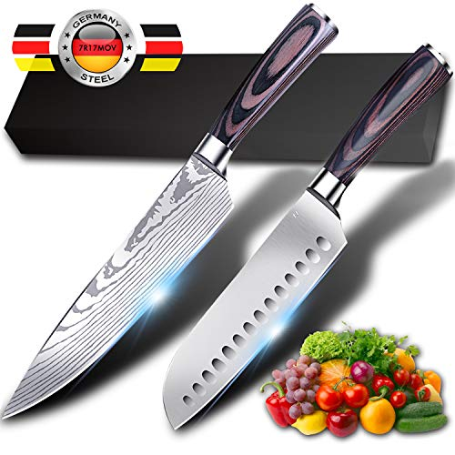 (Kitchen Knife Ruidla 2 Piece Sharp Chef Knife, 8 inch Chef Knife, 7 inch Gyutou Knives, German Stainless Steel Cooking Knife with Ergonomic Handle for Home Kitchen Restaurant)