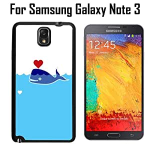 Cute Sperm Whale Heart Custom Case/ Cover/Skin *NEW* Case for Samsung Galaxy Note 3 - Black - Rubber Case (Ships from CA) Custom Protective Case , Design Case-ATT Verizon T-mobile Sprint ,Friendly Packaging - Slim Case