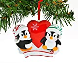Grantwood Technology Personalized Christmas Ornament Penguin RED Couple with Heart Snowflake
