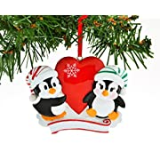 PERSONALIZED CHRISTMAS ORNAMENT KIT PENGUIN RED COUPLE WITH HEART SNOWFLAKE KIT