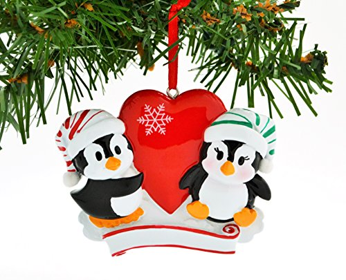 PERSONALIZED CHRISTMAS ORNAMENT KIT PENGUIN RED COUPLE WITH HEART SNOWFLAKE - Luna Eyewear