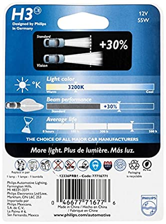 Philips 9008PRB1 Vision Upgrade Headlight Bulb with up to 30/% More Vision 1 Pack