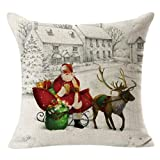 Christmas Pillow Cases, Boomboom Christmas Santa Claus Linen Square Pillow Cases Sofa Decorative