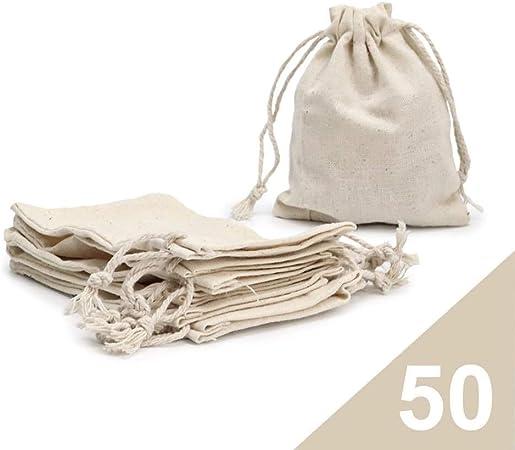 RUBY - 50 Bolsas de algodón con cordón Ajustable, Bolsa de Regalo, Bolsas de Tela Manualidades, Bolsa de Tela para Pintar, Bolsa de cumpleaños (Talla S): Amazon.es: Hogar