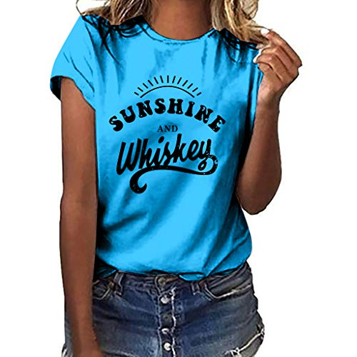 Women T-Shirt Casual Summer Short Sleeve Tee Letter Print Loose Blouse Tops (S, Sky Blue)