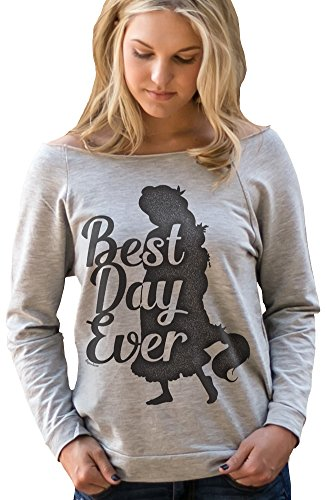 [Superluxe™ Womens Best Day Ever Rapunzel Princess 3/4 Sleeve T-Shirt, Heather Grey, Large] (Best College Halloween Outfits)