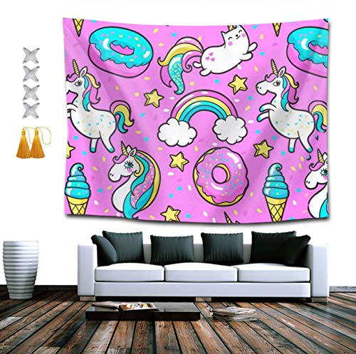 NiYoung Hippie Tapestries Bohemian Hippy Tapestries + Tassel + Thumbtacks, Cute Unicorn Kawaii Wall Hanging Throw Home Decorations Wall Tapestry for Dorm Room Collage Dorm