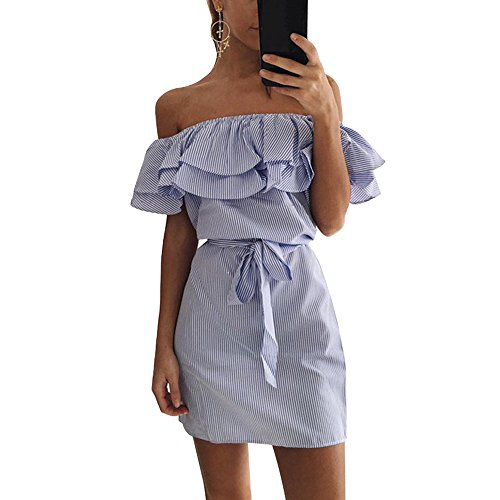 Wenyujh Femmes t Robe paules Dnudes Volants Tulipe Mini Robe Dress Col Bateau Soire Praty Bleu