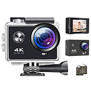 4K Action Camera Wifi Digital Cameras 16MP 1080P Ultra HD Video Camera Sports Outdoor Waterproof Underwater Photography Camcorders 170 Degree Wide Angle Lens DV Cam