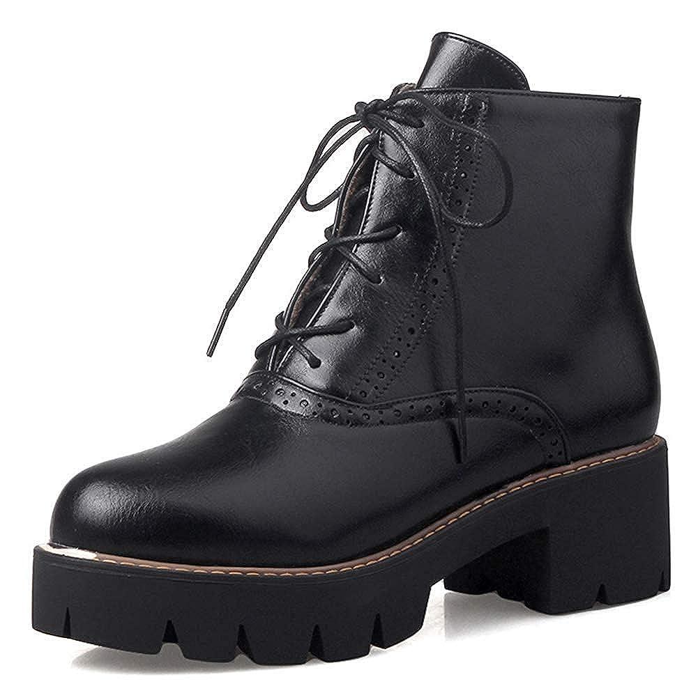 Womens Casual Round Toe Platform Martin Boots Inside Zip Up Mid Block Heel Ankle Booties