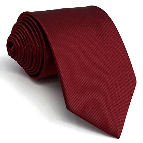 SHLAX&WING Solid Color Red Wedding Silk Neckties for Men Classic Tie 57.5 inches (Dark Red Tie)