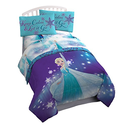 Disney Frozen 'Magical Winter' 4 Piece Twin Bed In A Bag (Frozen Bed Twin Set)