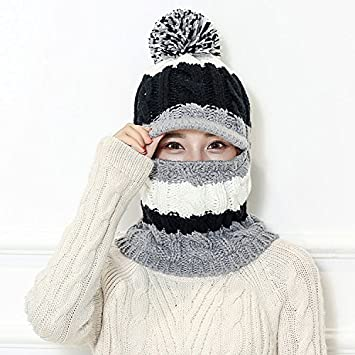 Mujeres de invierno cálido gorro de borla de gorro de punto Pom ...