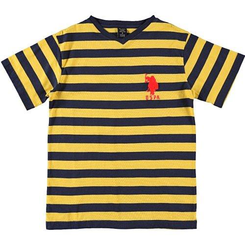 U.S. Polo Assn. Big Boys' Striped T-Shirt, Egg Yoke, 10/12