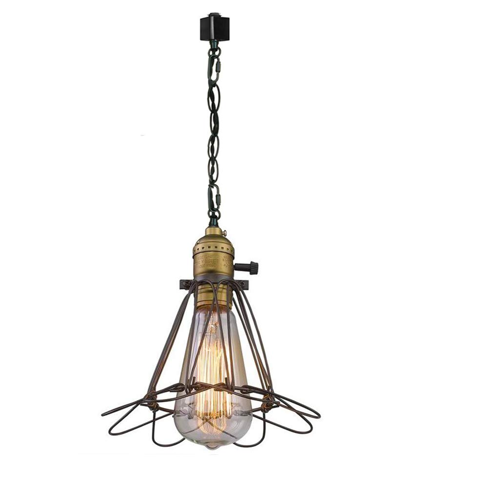 KIVEN H Track Mount Light Fixture Industrial Metal Cage Pedant Light -1 Light