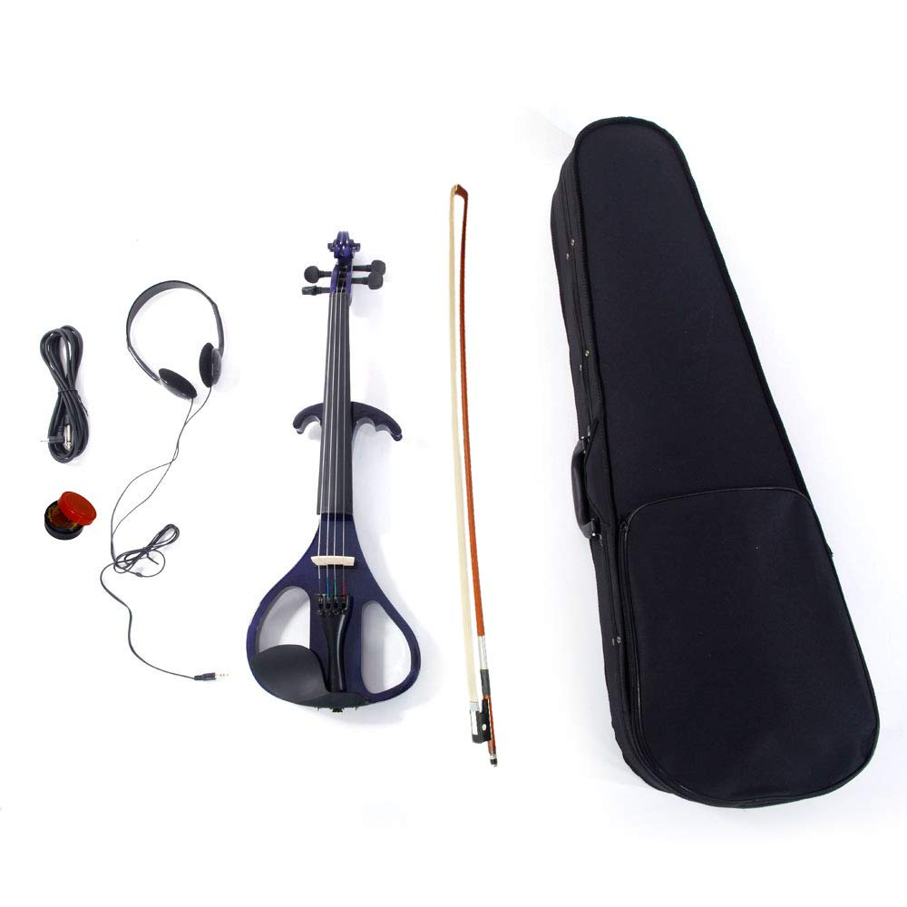 VIPITH LJ1 4/4'' Basswood Electric Violin Case Rosin Head Set Bow Connecting Line Purple