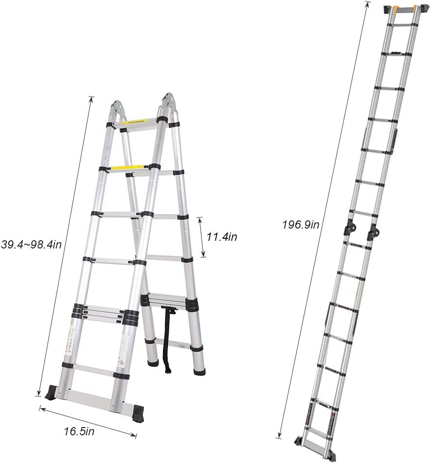 Soges 16.5 FT Aluminum Telescopic Extension Ladder Multi-Use Telescoping Ladder 330 Pound Capacity EN131 Standard,JF-UP500D-NN-CA