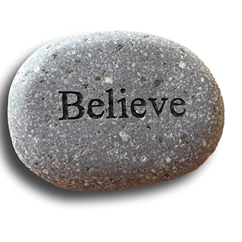 Believe Engraved Stone River Rock- 2