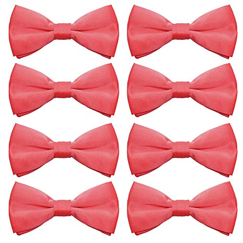 - AVANTMEN Men's Bowtie 8 Pack Classic Pre-Tied Satin Formal Tuxedo Bow Tie Adjustable Length Large Variety Colors Available (Coral Red)