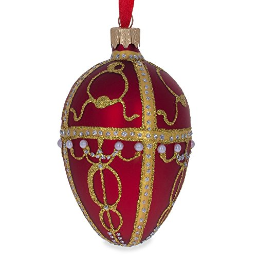 "4.5"" Rosebud Faberge Egg Glass Christmas Ornament"