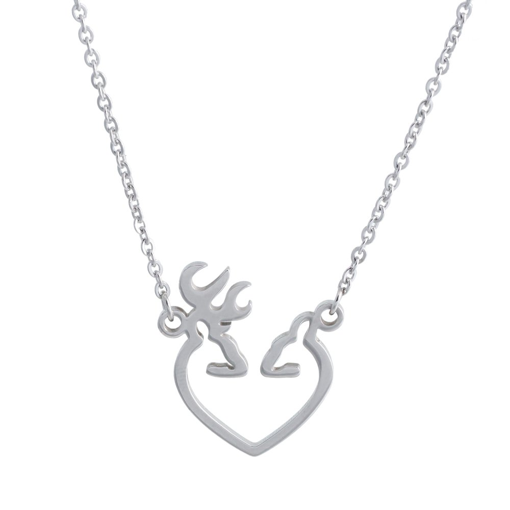 SENFAI Steel Color Geometric Her Buck His Doe Antler Pendant Necklace