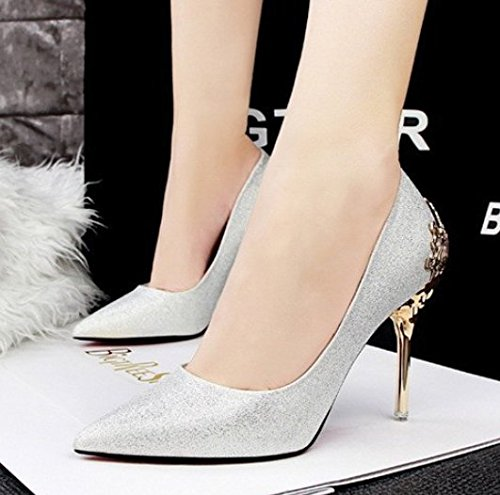 MDRW Silver Suede Single Heels 38 Shoes Spring High Shoes Shoes Leisure Work Elegant Lady Sharp 8Cm Bride Shoes rHBzRqrF