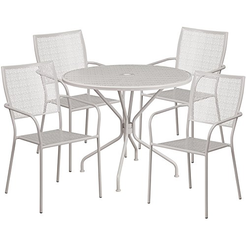Westbury 5-pcs Table Set Round 35.25'' Light Gray w/4 Square Back Chairs by iHome Studio