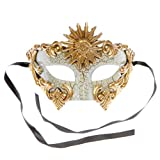 White Gold Roman Warrior Greek Sun Venetian Mask with Gencase Gift Bag Included
