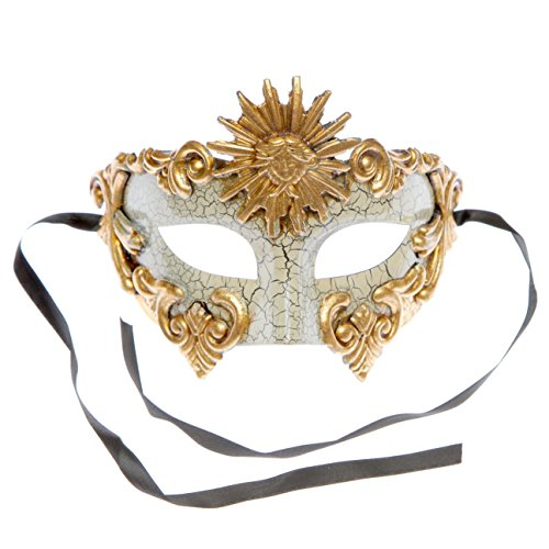 White Gold Roman Warrior Greek Sun Venetian Mask with Gencase Gift Bag Included by L.M.K