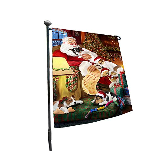 Happy Holidays with Santa Sleeping with Jack Russell Dogs Christmas Garden Flag