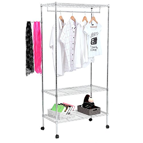 Chrome Shelf Rack (SONGMICS 3-Tier Heavy Duty Rolling Garment Clothes Rack with Shelves, Chrome Finish)