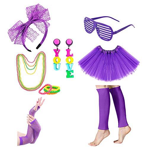 Icevog Womens Girls 80s Costume Accessories Set 90s Fancy Outfit for Disco Party Tutu Skirt Headband Gloves Leg Warmer Purple -