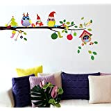 Decals Design 'Merry Christmas Winter Owls' Wall Sticker (PVC Vinyl, 70 cm x 25 cm)