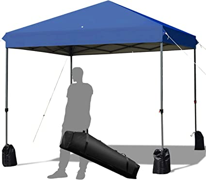 Amazon Com Tangkula 8 X 8 Ft Outdoor Pop Up Canopy Tent Outdoor Commercial Instant Shelter W Roller Bag And Sand Bags Straight Leg Folding Tent With 64 Square Feet Of Shade For