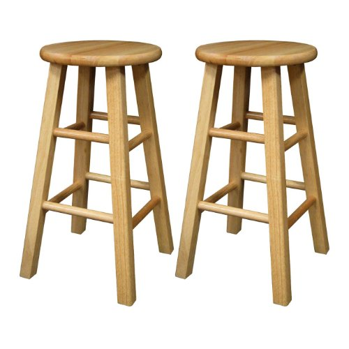 Zen Bar Table (Winsome Wood 24-Inch Square Leg Barstool with Natural Finish, Set of 2)