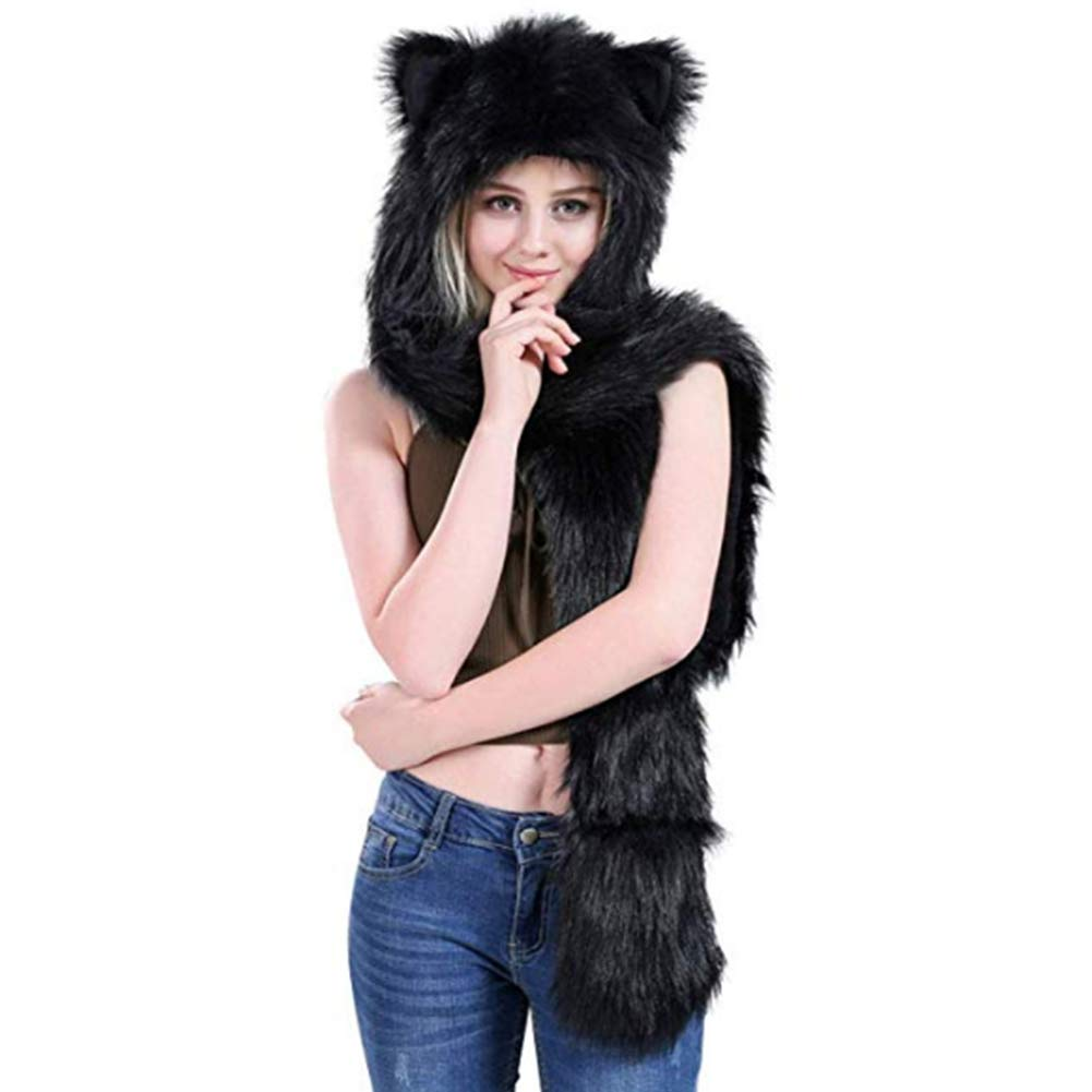 Faux Fur Animal Hat Scarf Gloves Set - 3-in-1 Function Long Full Scarf Hoods Mittens with Printing Pocket Paws Ears Quemu Co. Ltd.