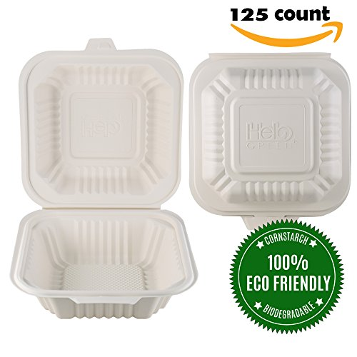 Food Containers by HeloGreen | Takeout To-Go Containers - Hinged Compostable Cornstarch Microwaveable - Save the Earth, Eco-Friendly - 6'' x 6'', 1 Compartment - (125 Count), Ivory by HeloGreen