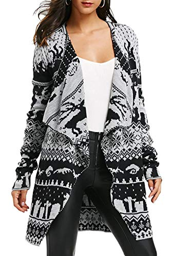 - Pink Queen Women's Christmas Print Cardigan Open Front Sweater Grey Size M