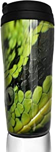 12 oz Tumbler with Lid Green Snake Fantastic Coffee Cups for Women Men Travel Mugs Birthday Friends Gifts
