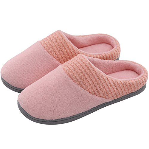 Women's Comfort Terry Plush Memory Foam Slippers Slip-Resistant Indoor & Outdoor House Shoes w/Classic Fabric Knit Collar (X-Large / 11-12 B(M) US, - Terry Foam