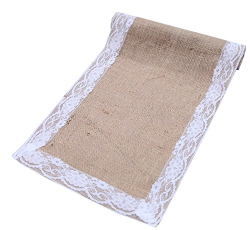 2Pack - Natural jute with Lace Table Runner-12x120 Inch