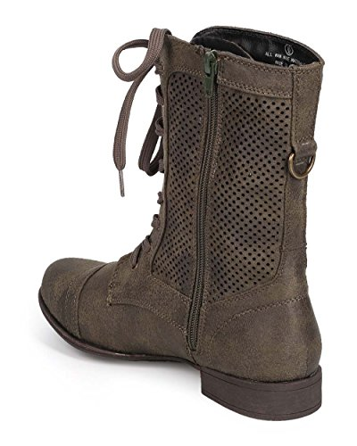 Liliana Dd16 Donna In Similpelle In Similpelle Perforata Cap Toe Zip Boot Militare - Oliva