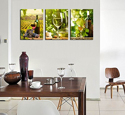Green Kitchen Jeddah: Kitchen Canvas Art Grapes Wine Bottle Pictures For Dining