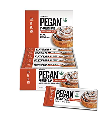Pegan® Protein Bar (Cinn Raisin Roll) 12 Bars (20g Organic Sacha Inchi Seed Protein) (Vegan/Paleo) (5 Net Carbs)