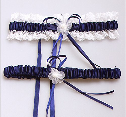 Satin Lace Wedding Bridal Toss Garter Set with Pearl Floral Bowknot (Blue)
